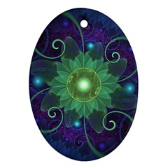 Glowing Blue Green Fractal Lotus Lily Pad Pond Oval Ornament (two Sides) by jayaprime
