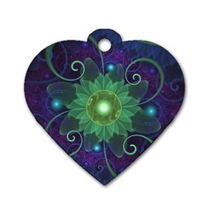 Glowing Blue Green Fractal Lotus Lily Pad Pond Dog Tag Heart (two Sides) by jayaprime