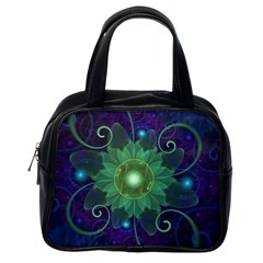 Glowing Blue-Green Fractal Lotus Lily Pad Pond Classic Handbags (One Side)