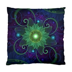 Glowing Blue Green Fractal Lotus Lily Pad Pond Standard Cushion Case (one Side) by beautifulfractals