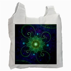 Glowing Blue Green Fractal Lotus Lily Pad Pond Recycle Bag (one Side) by beautifulfractals