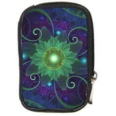 Glowing Blue Green Fractal Lotus Lily Pad Pond Compact Camera Cases by beautifulfractals