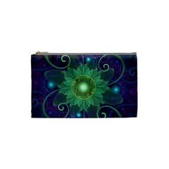 Glowing Blue Green Fractal Lotus Lily Pad Pond Cosmetic Bag (small)  by beautifulfractals