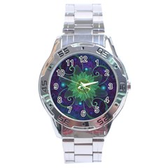 Glowing Blue Green Fractal Lotus Lily Pad Pond Stainless Steel Analogue Watch by jayaprime