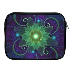 Glowing Blue Green Fractal Lotus Lily Pad Pond Apple Ipad 2/3/4 Zipper Cases by jayaprime