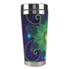 Glowing Blue Green Fractal Lotus Lily Pad Pond Stainless Steel Travel Tumblers by jayaprime