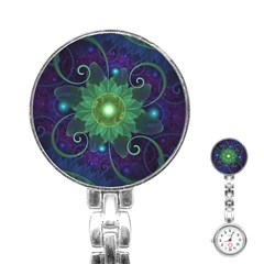 Glowing Blue Green Fractal Lotus Lily Pad Pond Stainless Steel Nurses Watch by jayaprime