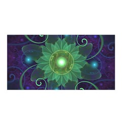 Glowing Blue Green Fractal Lotus Lily Pad Pond Satin Wrap by jayaprime