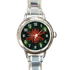 Beautiful Red Passion Flower In A Fractal Jungle Round Italian Charm Watch by jayaprime