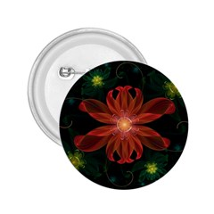 Beautiful Red Passion Flower In A Fractal Jungle 2 25  Buttons by jayaprime