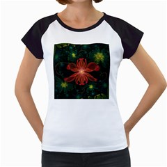Beautiful Red Passion Flower In A Fractal Jungle Women s Cap Sleeve T by jayaprime