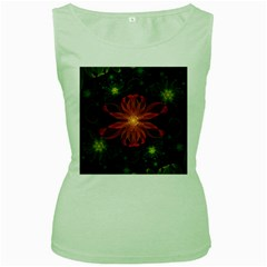 Beautiful Red Passion Flower In A Fractal Jungle Women s Green Tank Top by jayaprime