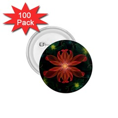 Beautiful Red Passion Flower In A Fractal Jungle 1 75  Buttons (100 Pack)  by jayaprime