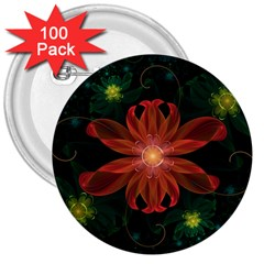 Beautiful Red Passion Flower In A Fractal Jungle 3  Buttons (100 Pack)  by jayaprime