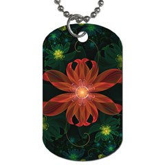 Beautiful Red Passion Flower In A Fractal Jungle Dog Tag (one Side) by beautifulfractals