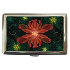Beautiful Red Passion Flower In A Fractal Jungle Cigarette Money Cases by jayaprime