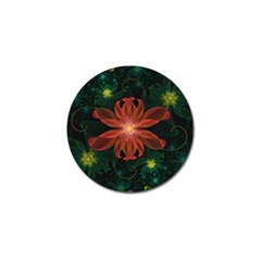 Beautiful Red Passion Flower In A Fractal Jungle Golf Ball Marker (4 Pack) by beautifulfractals