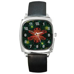 Beautiful Red Passion Flower In A Fractal Jungle Square Metal Watch by jayaprime