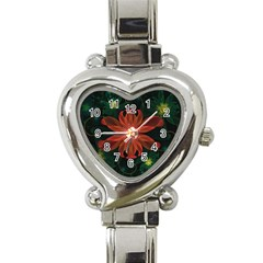 Beautiful Red Passion Flower In A Fractal Jungle Heart Italian Charm Watch by jayaprime