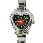 Beautiful Red Passion Flower in a Fractal Jungle Heart Italian Charm Watch Front