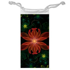 Beautiful Red Passion Flower In A Fractal Jungle Jewelry Bag by jayaprime