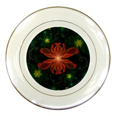 Beautiful Red Passion Flower In A Fractal Jungle Porcelain Plates by jayaprime