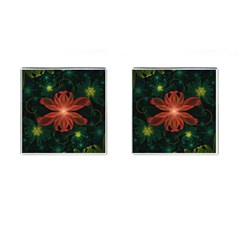 Beautiful Red Passion Flower In A Fractal Jungle Cufflinks (square) by jayaprime