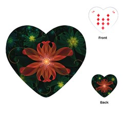 Beautiful Red Passion Flower In A Fractal Jungle Playing Cards (heart)  by beautifulfractals