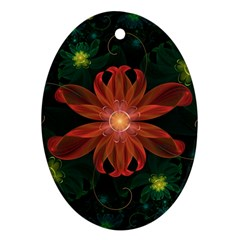 Beautiful Red Passion Flower In A Fractal Jungle Oval Ornament (two Sides) by jayaprime