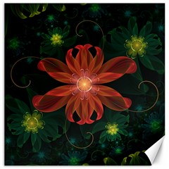 Beautiful Red Passion Flower In A Fractal Jungle Canvas 12  X 12   by beautifulfractals