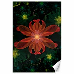 Beautiful Red Passion Flower In A Fractal Jungle Canvas 12  X 18   by jayaprime