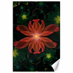 Beautiful Red Passion Flower In A Fractal Jungle Canvas 24  X 36  by beautifulfractals