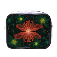 Beautiful Red Passion Flower In A Fractal Jungle Mini Toiletries Bags by jayaprime