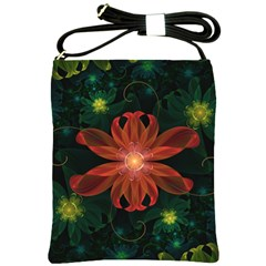 Beautiful Red Passion Flower In A Fractal Jungle Shoulder Sling Bags by jayaprime