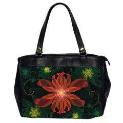 Beautiful Red Passion Flower In A Fractal Jungle Office Handbags (2 Sides)  by beautifulfractals