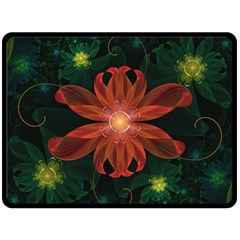 Beautiful Red Passion Flower In A Fractal Jungle Fleece Blanket (large)  by jayaprime