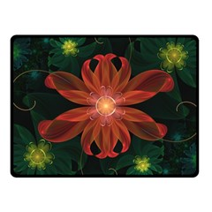 Beautiful Red Passion Flower In A Fractal Jungle Fleece Blanket (small) by jayaprime