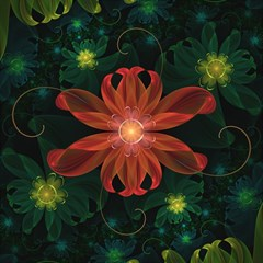 Beautiful Red Passion Flower In A Fractal Jungle Magic Photo Cubes by jayaprime
