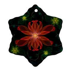 Beautiful Red Passion Flower In A Fractal Jungle Ornament (snowflake) by jayaprime