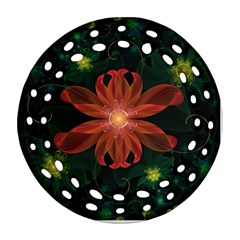 Beautiful Red Passion Flower In A Fractal Jungle Round Filigree Ornament (two Sides) by beautifulfractals
