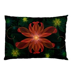 Beautiful Red Passion Flower In A Fractal Jungle Pillow Case (two Sides) by jayaprime