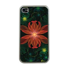 Beautiful Red Passion Flower In A Fractal Jungle Apple Iphone 4 Case (clear) by jayaprime