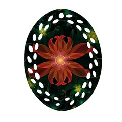 Beautiful Red Passion Flower In A Fractal Jungle Ornament (oval Filigree) by beautifulfractals