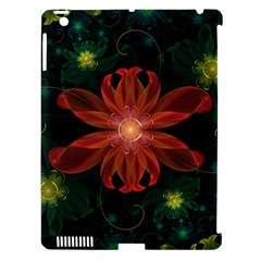 Beautiful Red Passion Flower In A Fractal Jungle Apple Ipad 3/4 Hardshell Case (compatible With Smart Cover) by jayaprime