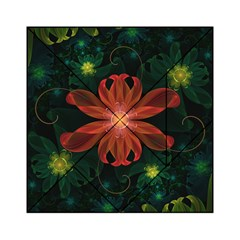 Beautiful Red Passion Flower In A Fractal Jungle Acrylic Tangram Puzzle (6  X 6 ) by beautifulfractals