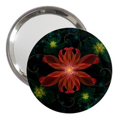 Beautiful Red Passion Flower In A Fractal Jungle 3  Handbag Mirrors by jayaprime