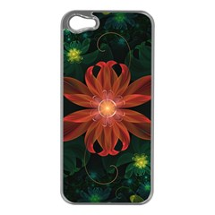 Beautiful Red Passion Flower In A Fractal Jungle Apple Iphone 5 Case (silver) by jayaprime