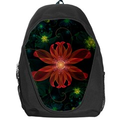 Beautiful Red Passion Flower In A Fractal Jungle Backpack Bag by jayaprime