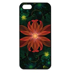 Beautiful Red Passion Flower In A Fractal Jungle Apple Iphone 5 Seamless Case (black) by jayaprime