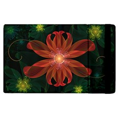 Beautiful Red Passion Flower In A Fractal Jungle Apple Ipad 3/4 Flip Case by beautifulfractals